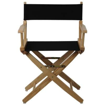 18 in. Extra-Wide Natural Wood Frame/Black Canvas Seat Folding Directors Chair