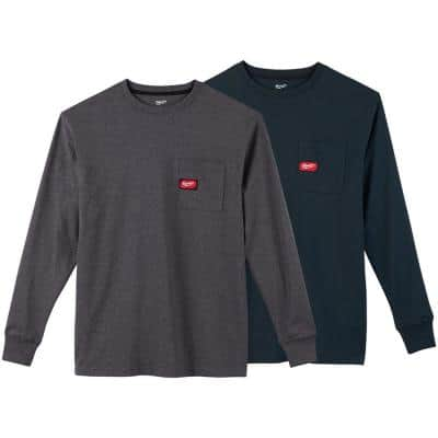 Men's 3X-Large Gray and Blue Heavy-Duty Cotton/Polyester Long-Sleeve Pocket T-Shirt (2-Pack)