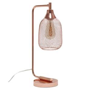 19 in. Rose Gold Industrial Mesh Desk Lamp