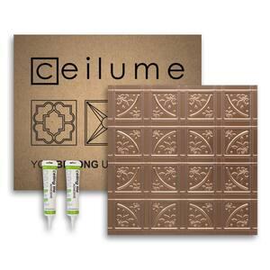 Lafayette 2 ft. x 2 ft. Glue Up Vinyl Ceiling Tile and Backsplash Kit in Faux Copper (21 sq. ft./case)