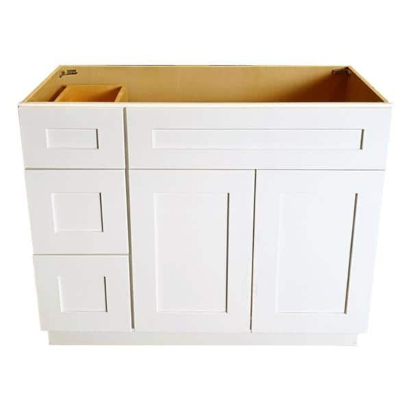 36 In W X 21 In D X 34 5 In H Ready To Assemble Shaker Bath Vanity Cabinet With 2 Doors And Left Drawers In White Swxva36dl Ni The Home Depot