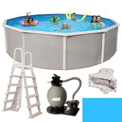 Belize 15 ft. Round x 52 in. Deep Metal Wall Above Ground Pool Package with 6 in. Top Rail
