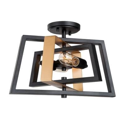 16 in. 2-Light Vintage Bronze Black Open Cage Rustic Farmhouse Semi-Flush Mount with Rotate Frame LED Compatible