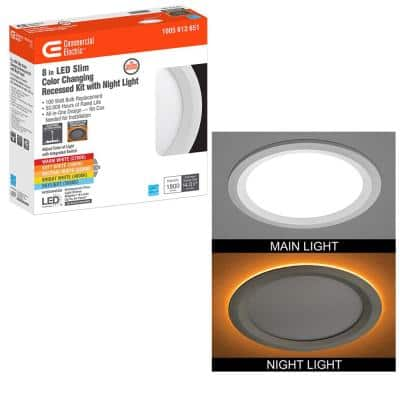 Ultra Slim 8 in. Canless Selectable CCT Integrated LED Recessed Light Trim with Night Light Feature 1800 Lumens
