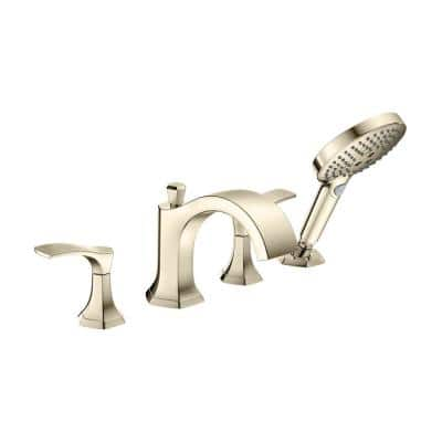 Locarno 2-Handle Deck Mount Roman Tub Faucet with Hand Shower in Polished Nickel
