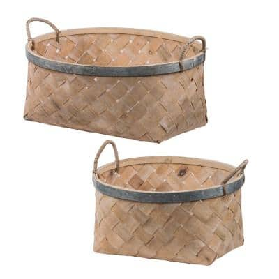Woven Bamboo Baskets Natural (Set of 2)