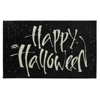 Happy Web Black 2 ft. 6 in. x 4 ft. 2 in. Holiday Area Rug