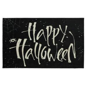 Happy Web Black 2 ft. 6 in. x 4 ft. 2 in. Halloween Indoor Area Rug