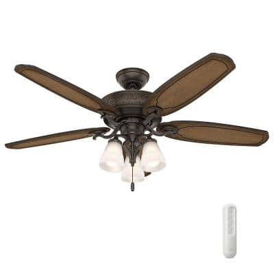 Osbourne 54 in. LED Indoor Onyx Bengal Ceiling Fan with Light Kit and Bundled with Hunter Universal Handheld Remote