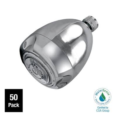 Earth 3-Spray 2.7 in. Single Wall Mount Fixed 1.25 GPM Shower Head in Chrome (50-Pack)