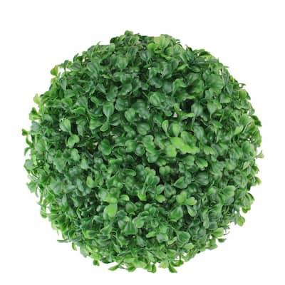 9 in. Outdoor Garden Artificial 2-Tone Green Boxwood Ball