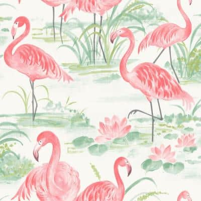Pink Flamingo Beach Peel and Stick Wallpaper Pink Vinyl Peelable Roll (Covers 30.75 sq. ft.)