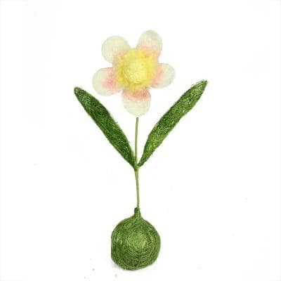 """19"""" Green  Yellow and Pink Spring Floral Table Top Decoration"""