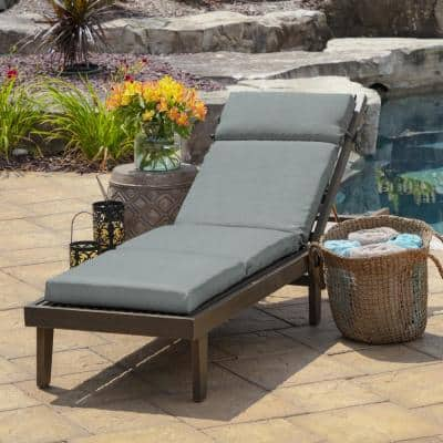 21 in. x 29.5 in. Outdoor Chaise Lounge Cushion in Stone Leala Texture
