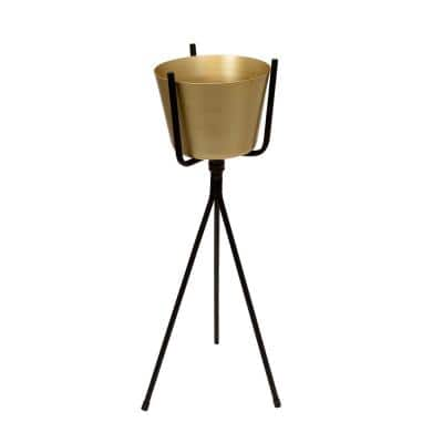 7.75 in. Dia. Gold and Black Metal Planter on Stand