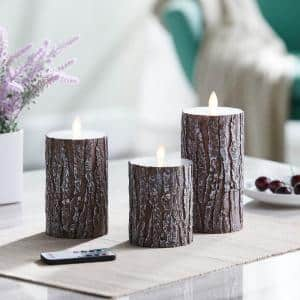 Rustic Pine Bark LED Flameless Pillar Candles Set of 3 Brown Candles are Perfect for the Holidays