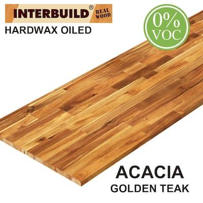 Acacia 8 ft. L x 40 in. D x 1 in. T Butcher Block Island Countertop in Golden Teak Stain