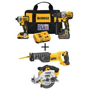 20-Volt MAX Cordless Brushless Combo Kit (2-Tool) with (1) FLEXVOLT 6.0Ah, (1) 20-Volt 2.0 Battery, Circ Saw & Recip Saw