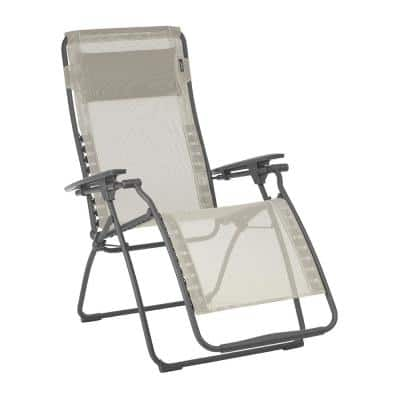 Futura in Seigle (Beige) Color with Steel Frame Reclining Zero Gravity Lawn Chair