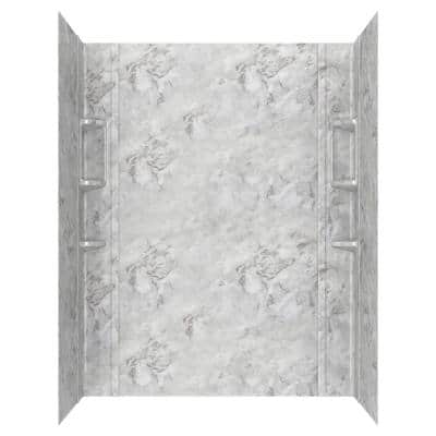 Ovation 32 in. x 60 in. x 72 in. 5-Piece Glue-Up Alcove Shower Wall Set in Silver Celestial