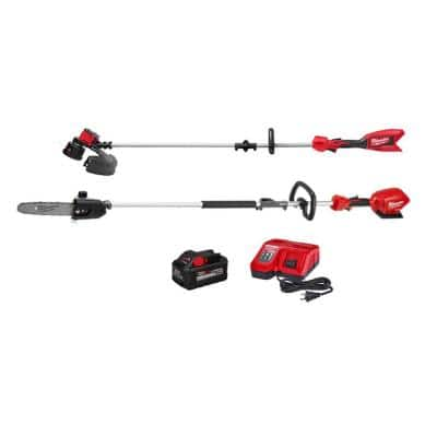 M18 18-Volt Lithium-Ion Brushless Cordless String Trimmer, M18 FUEL Pole Saw, Charger and 8.0Ah Battery Combo Kit