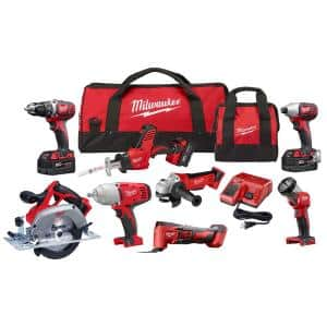 M18 18-Volt Lithium-Ion Cordless Combo Kit (8-Tool) with Three 4.0 Ah Batteries, 1 Charger, 2 Tool Bag