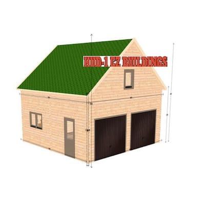 Log Garage J2 688 sq. ft. Log Garage DIY Building Kit