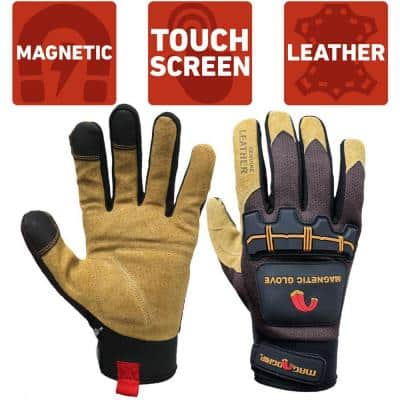 Medium Heavy-Duty Magnetic Glove with Leather Palm and Touchscreen Technology