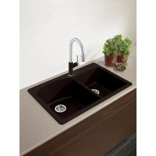 Blanco Diamond Dual Mount Granite Composite 33 In 1 Hole 60 40 Double Bowl Kitchen Sink Cafe Brown 440213 The Home Depot
