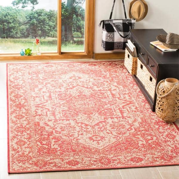 Safavieh Linden Red Cream 4 Ft X 6 Ft Area Rug Lnd139q 4 The Home Depot