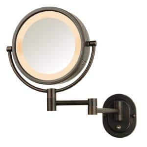 10 in. L  x 14 in. H Lighted Wall Makeup Mirror in Bronze, Direct Wire