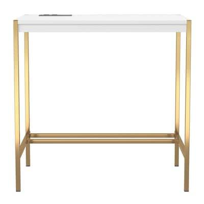 Bunda 30 in. Rectangle Gold Coating and White Writing Desk