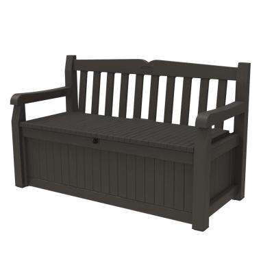 Solana 2-Person Brown Outdoor Resin Storage Bench
