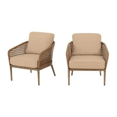 Coral Vista Brown Wicker Outdoor Patio Dining Chair with Sunbrella Beige Tan Cushions (2-Pack)