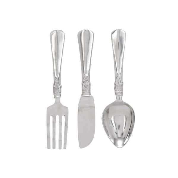Litton Lane Aluminum Silver Fork Knife And Spoon Wall Decor Set Of 3 26171 The Home Depot