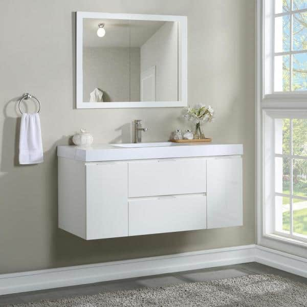 In Wall Mounted Bath Vanity, Wall Mount Bathroom Vanities