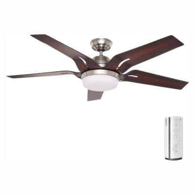Correne 56 in. LED Indoor Brushed Nickel Ceiling Fan and Remote