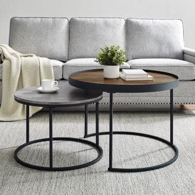 2-Piece 30 in. Brown/Gray Medium Round Wood Coffee Table Set with Nesting Tables