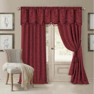 Rouge Jacquard Blackout Curtain - 52 in. W x 84 in. L