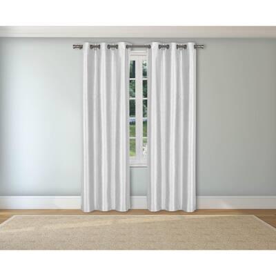 White Solid Grommet Room Darkening Curtain - 38 in. W x 84 in. L  (Set of 2)