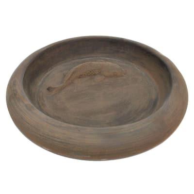 Cast Stone Koi Pond Garden Birdbath - Dark Walnut