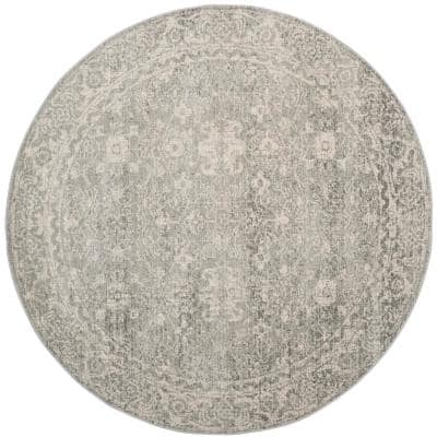 Evoke Silver/Ivory 9 ft. x 9 ft. Round Area Rug