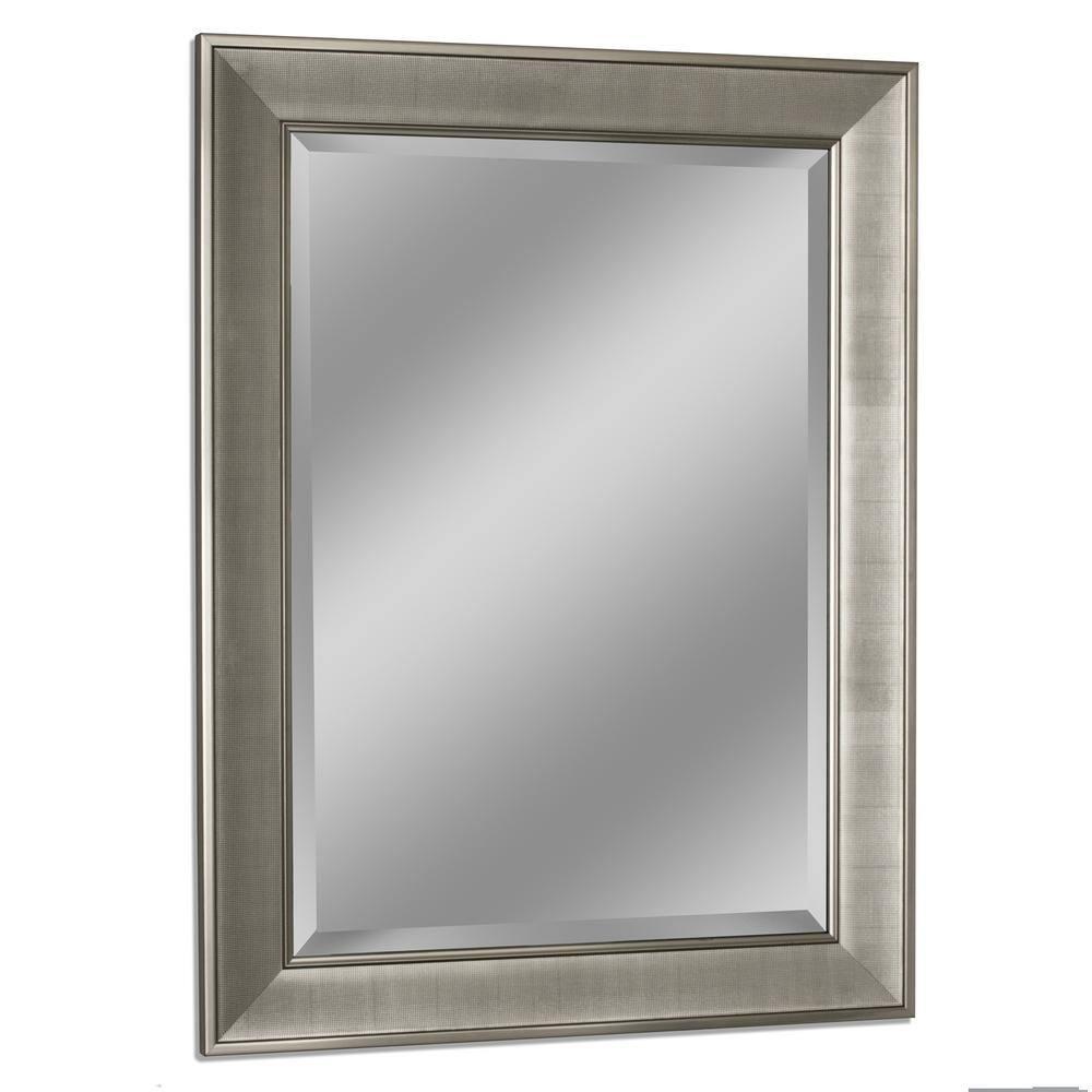 Deco Mirror 29 In W X 35 In H Framed Rectangular Bathroom Vanity Mirror In Brush Nickel 8013 The Home Depot