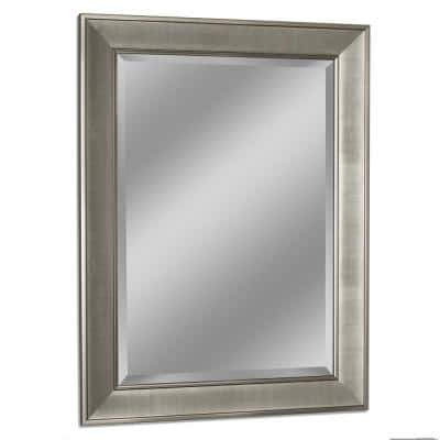 29 in. W x 35 in. H Framed Rectangular Bathroom Vanity Mirror in Brush nickel