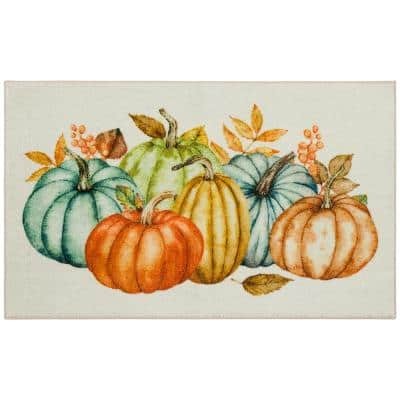 Fall Pumpkins Multi 2 ft. x 3 ft. 4 in. Holiday Area Rug