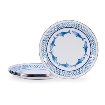 Fish Camp 10.5 in. Enamelware Round Dinner Plates (Set of 4)