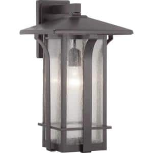 Cullman Collection 1-Light Antique Bronze Clear Seeded Glass Craftsman Outdoor Large Wall Lantern Light