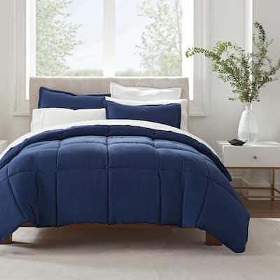 Simply Clean 3-Piece Navy Solid Microfiber Full/Queen Comforter Set