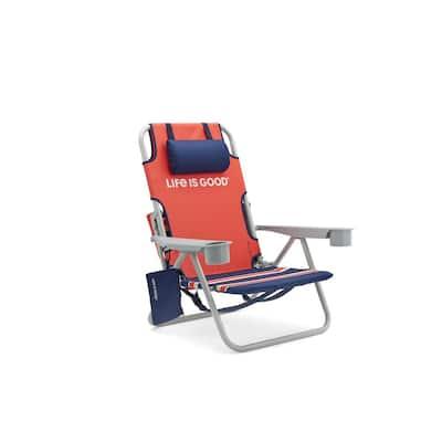 Orange Daisy Aluminum Folding Beach Chair