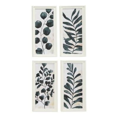 Rectangular White and Dark Green Watercolor Plant Illustrations Wooden Wall Art, Set of 4